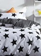 Eponj Home Kolay Ütülenir Nevresim Takımı Çift Kişilik B&W BigStar Siyah